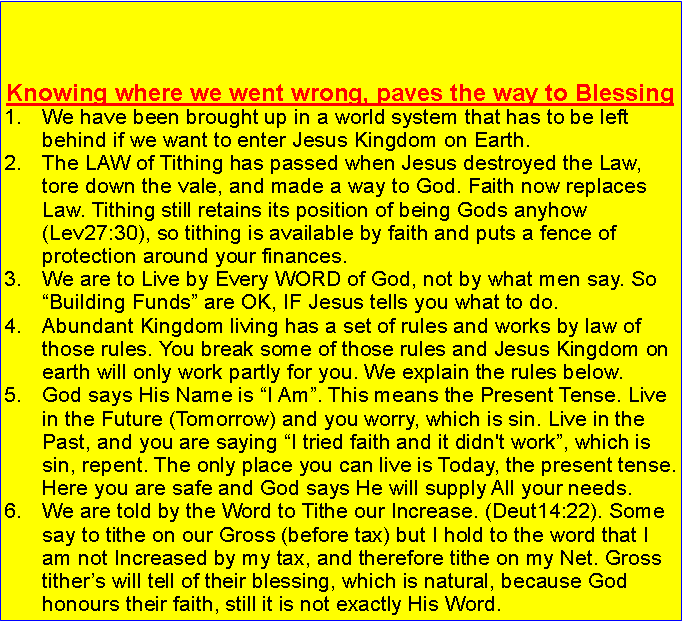 Finance From The Kingdom Of God. Enter And Print Your